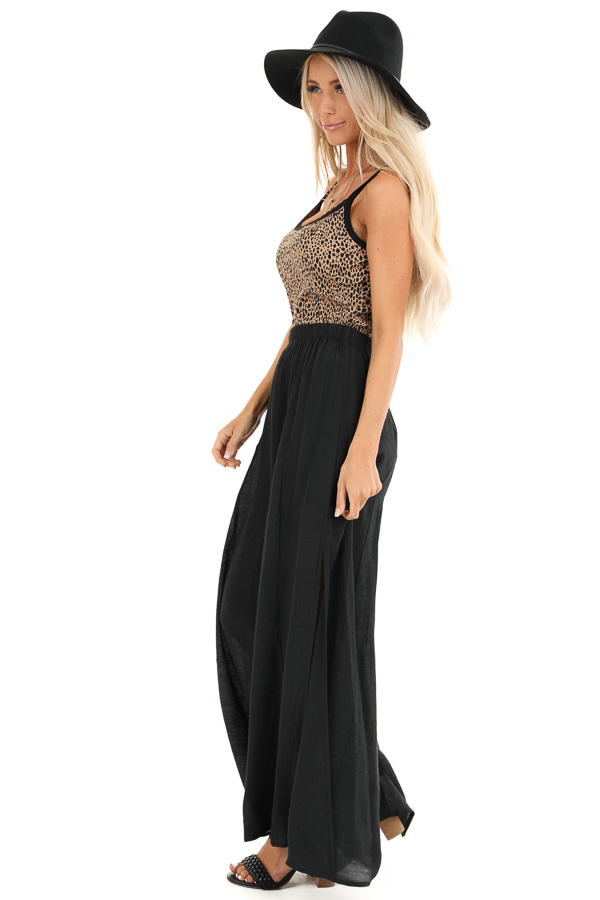 Midnight Black Wide Leg Pants with High Side Slits side full body