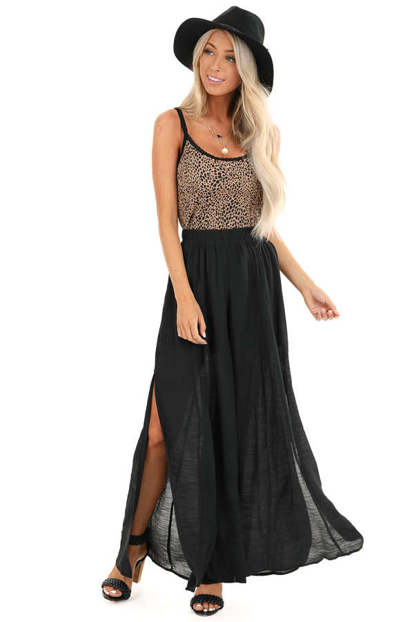 Midnight Black Wide Leg Pants with High Side Slits front full body