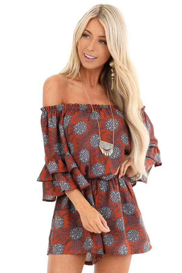 Brick Floral Print Off Shoulder Romper with Ruffle Sleeves front close up