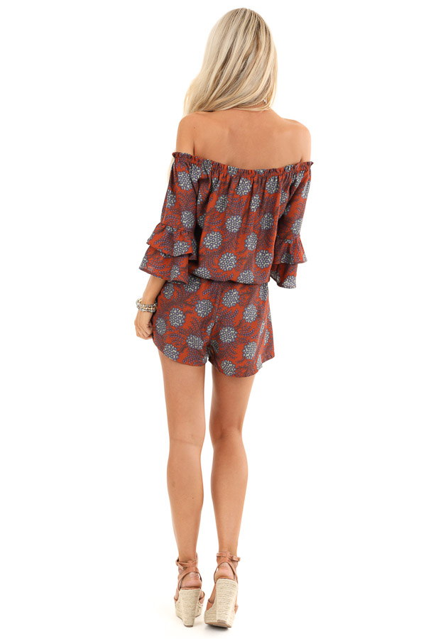 Brick Floral Print Off Shoulder Romper with Ruffle Sleeves back full body