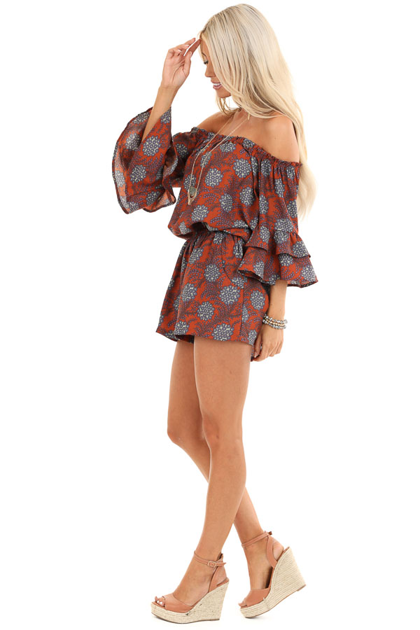 Brick Floral Print Off Shoulder Romper with Ruffle Sleeves side full body