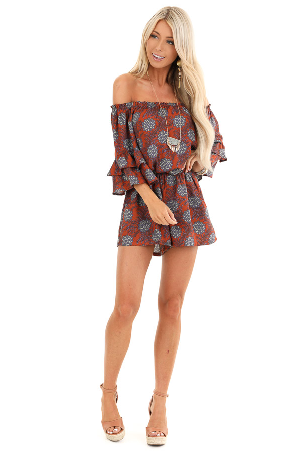 Brick Floral Print Off Shoulder Romper with Ruffle Sleeves front full body