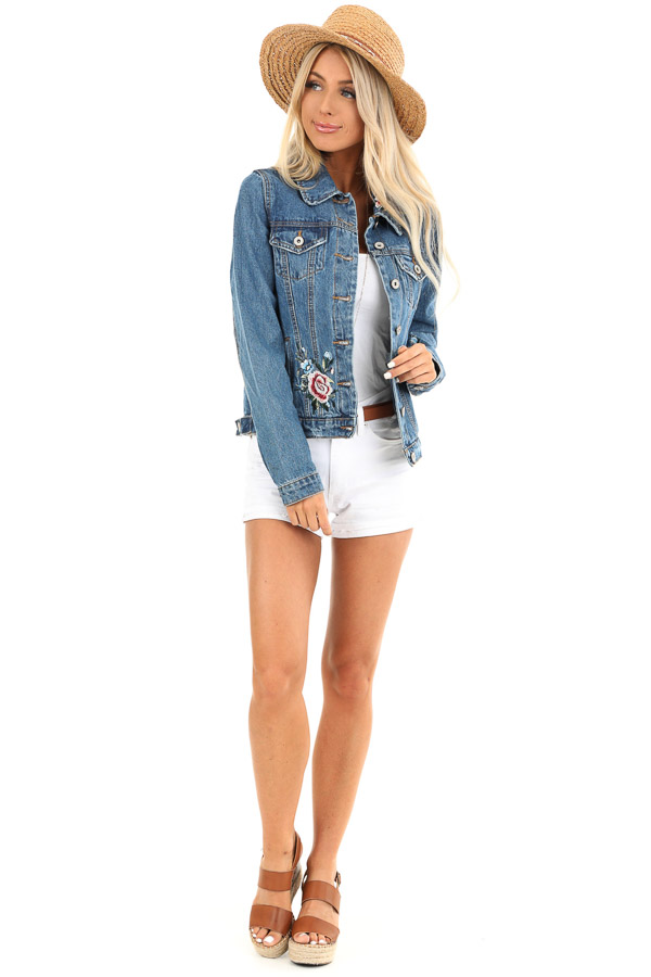 Medium Wash Denim Jacket with Embroidered Floral Details front full body