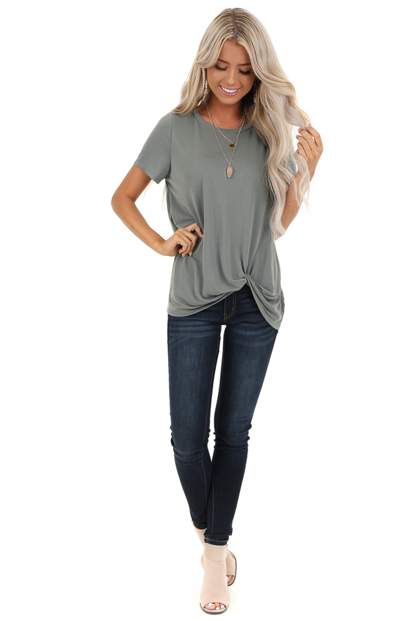 Sage Grey Loose Short Sleeve Top with Front Twist front full body