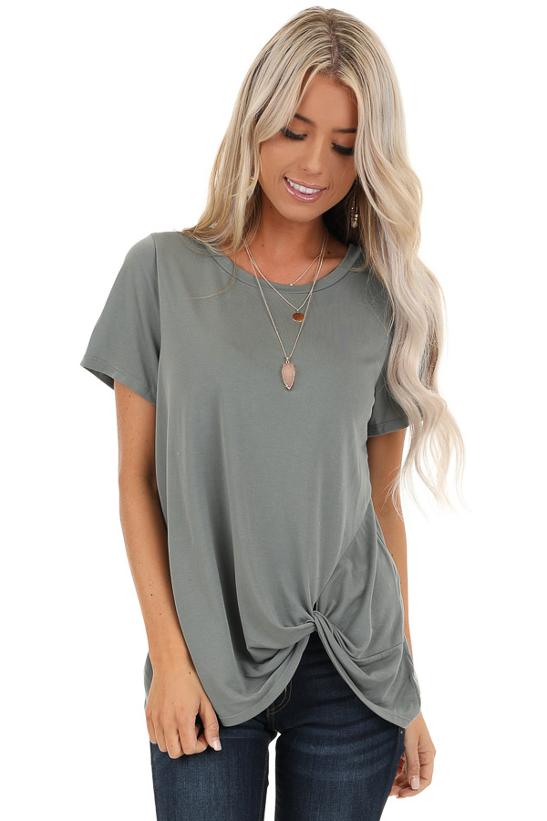 Sage Grey Loose Short Sleeve Top with Front Twist front close up