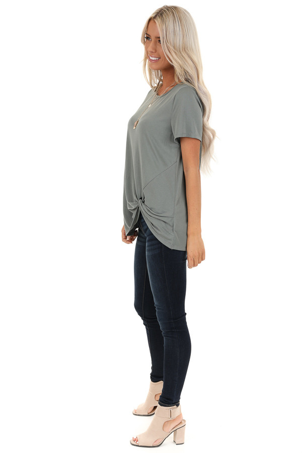 Sage Grey Loose Short Sleeve Top with Front Twist side full body