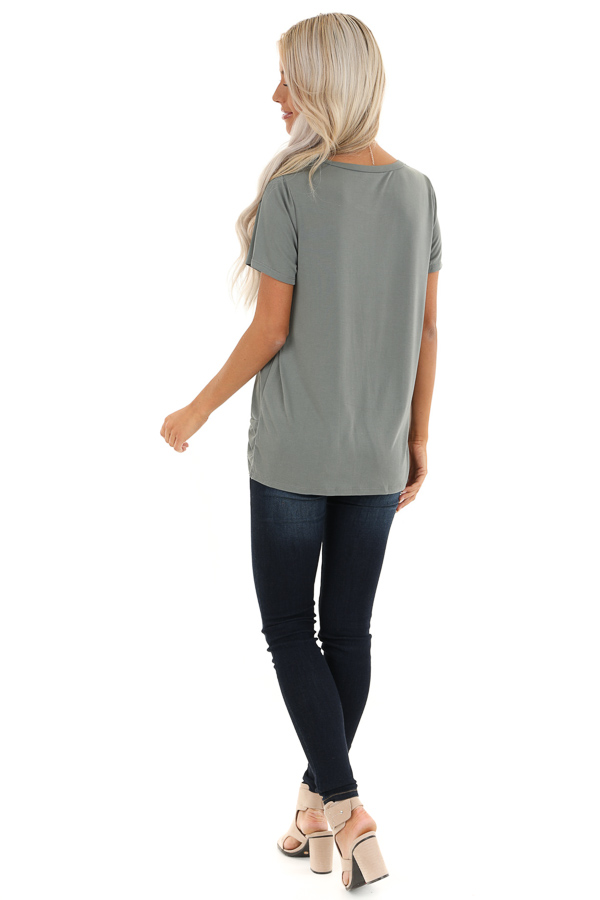 Sage Grey Loose Short Sleeve Top with Front Twist back full body