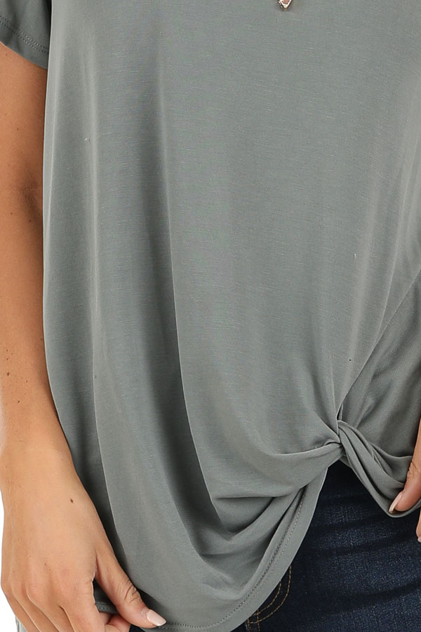 Sage Grey Loose Short Sleeve Top with Front Twist detail
