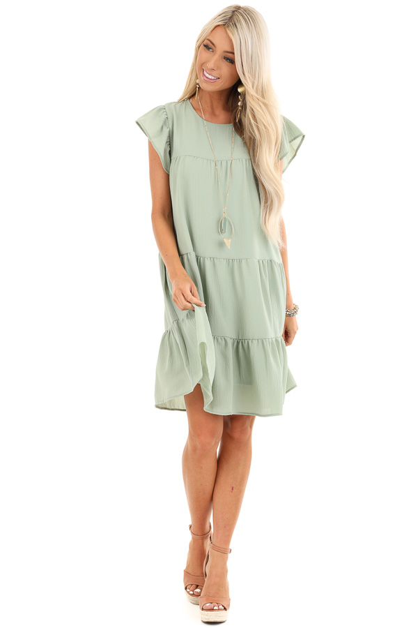 Sage Crew Neck Babydoll Dress with Ruffled Sleeves front full body