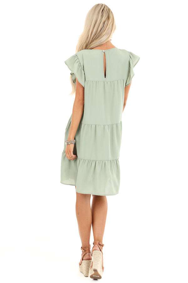 Sage Crew Neck Babydoll Dress with Ruffled Sleeves back full body