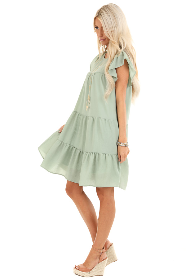 Sage Crew Neck Babydoll Dress with Ruffled Sleeves side full body