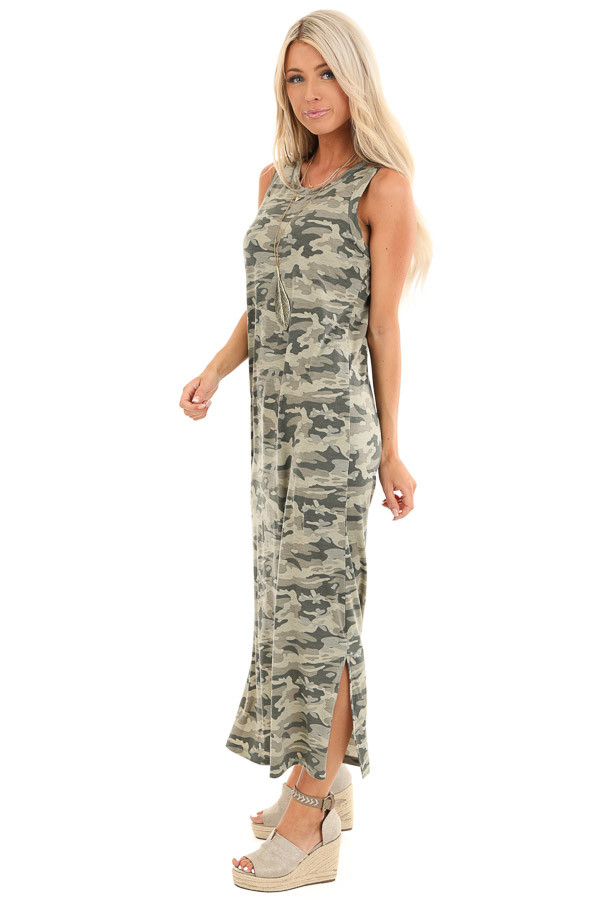 Sage Camo Print Sleeveless Maxi Dress with Small Side Slits side full body