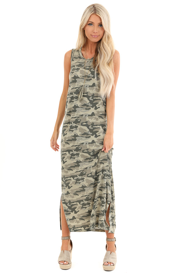 Sage Camo Print Sleeveless Maxi Dress with Small Side Slits front full body