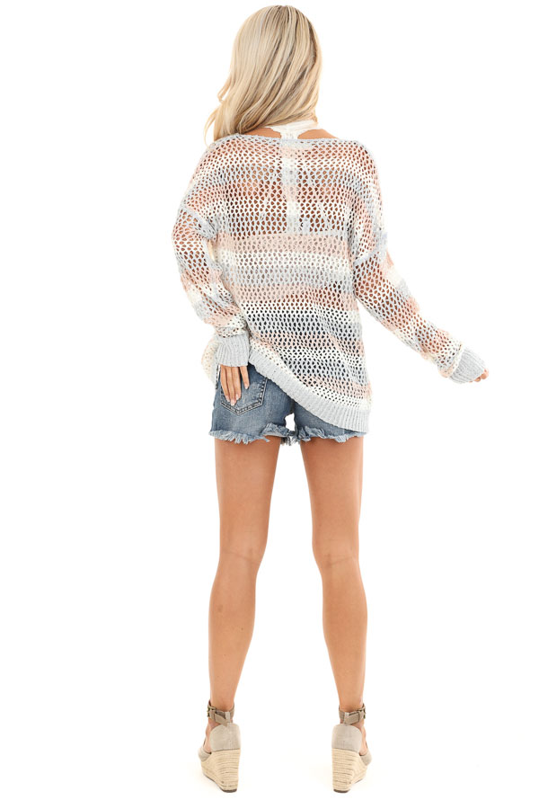 Baby Blue and Salmon Striped Open Knit Sweater back full body