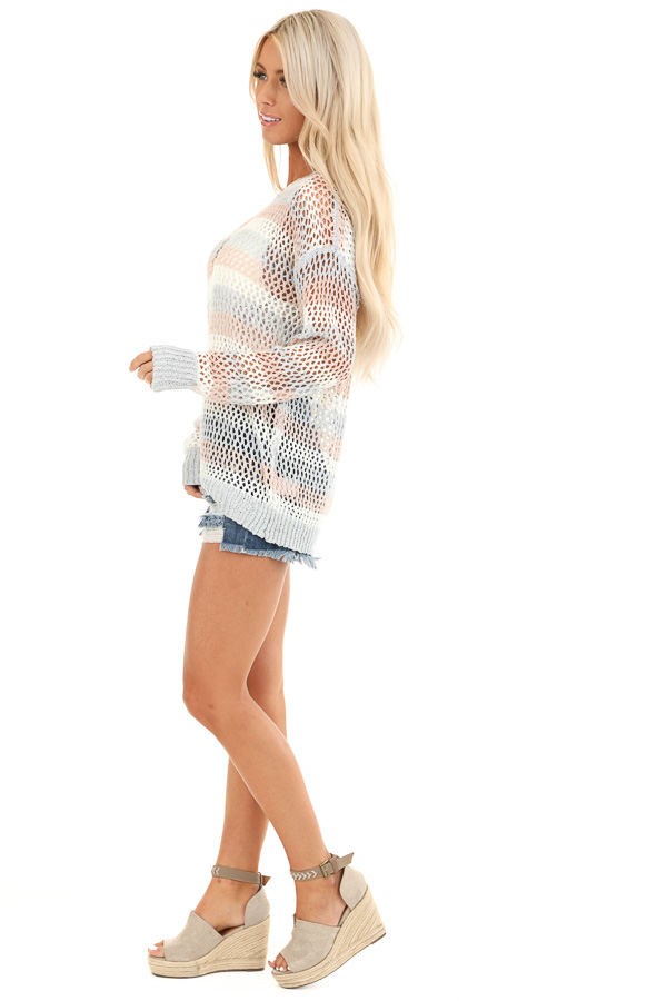 Baby Blue and Salmon Striped Open Knit Sweater side full body