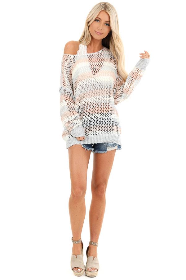 Baby Blue and Salmon Striped Open Knit Sweater front full body