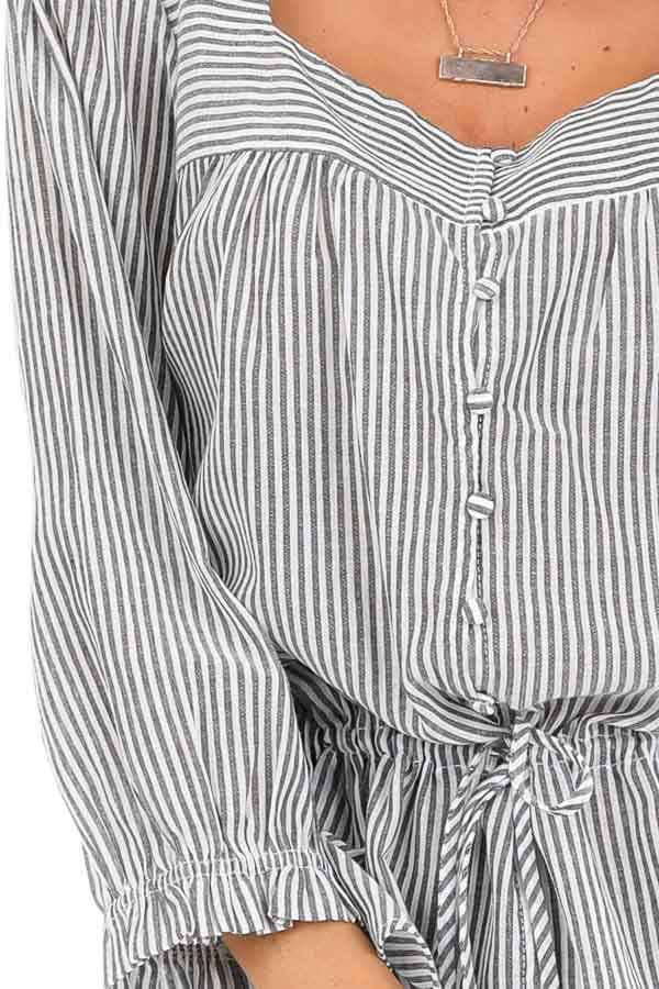 Charcoal and Pearl Striped Button Up Square Neckline Blouse detail