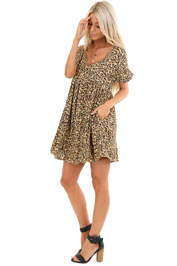 Caramel and Black Leopard Print Mini Dress with Side Pockets side full body