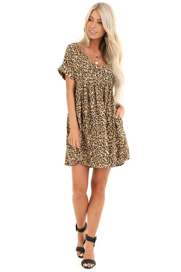 Caramel and Black Leopard Print Mini Dress with Side Pockets front full body