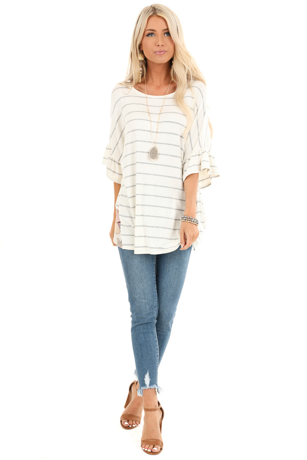 Heather Grey Striped Short Sleeve Top with Floral Open Back front full body