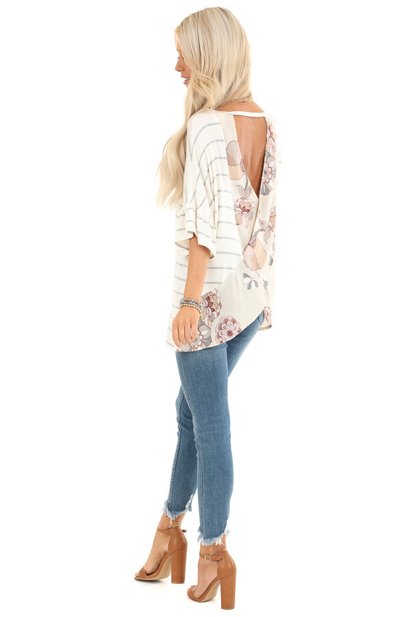 Heather Grey Striped Short Sleeve Top with Floral Open Back side full body