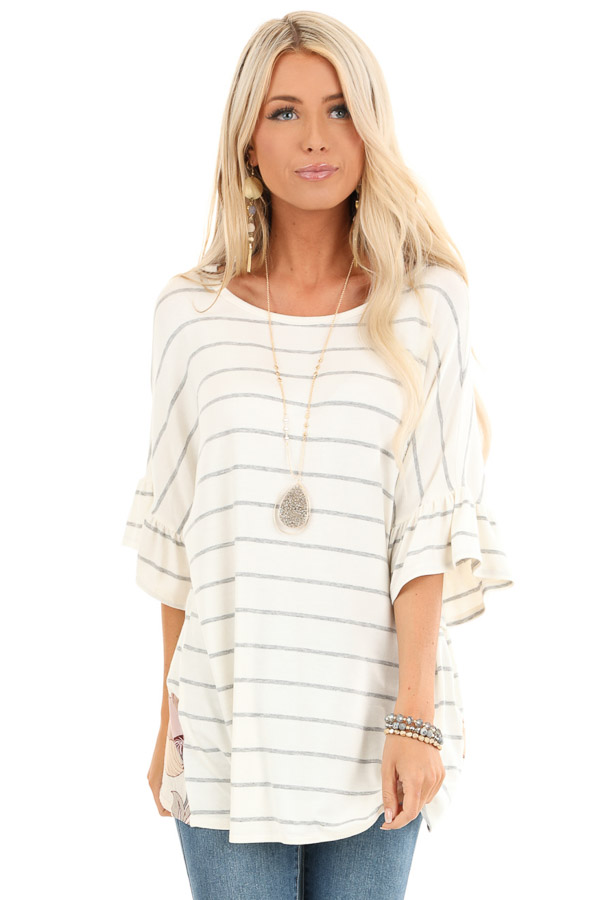 Heather Grey Striped Short Sleeve Top with Floral Open Back front close up