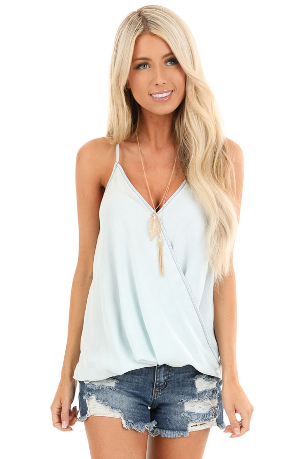 Cream Blue Tencel Surplice Tank Top with Adjustable Straps front close up