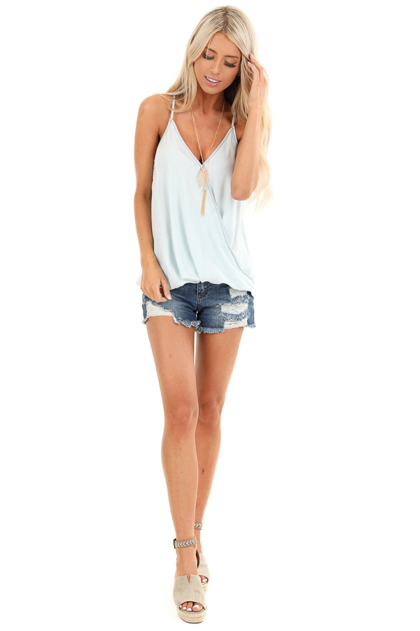 Cream Blue Tencel Surplice Tank Top with Adjustable Straps front full body