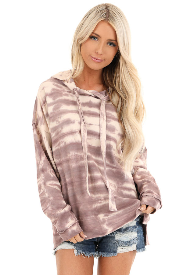 Faded Lilac and Cream Tie Dye Long Sleeve Drawstring Hoodie front close up