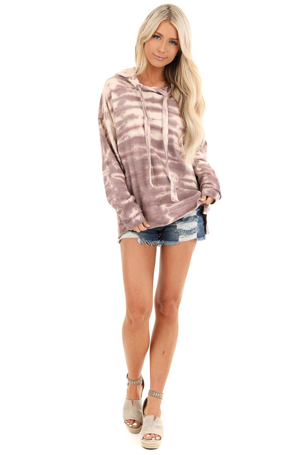 Faded Lilac and Cream Tie Dye Long Sleeve Drawstring Hoodie front full body