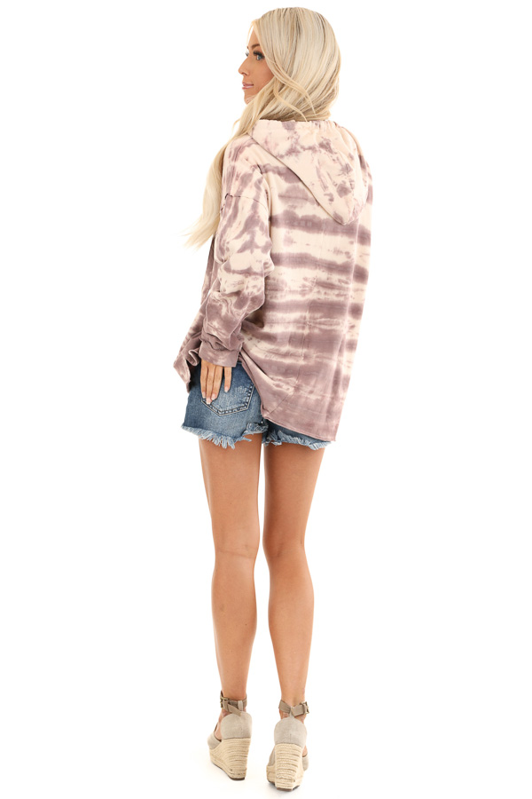 Faded Lilac and Cream Tie Dye Long Sleeve Drawstring Hoodie back full body