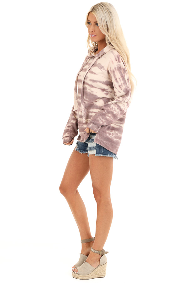 Faded Lilac and Cream Tie Dye Long Sleeve Drawstring Hoodie side full body