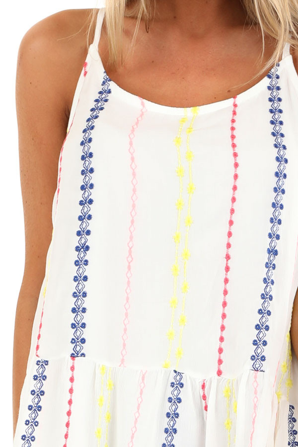 Coconut White Embroidered Peplum Tank Top with Back Tie detail