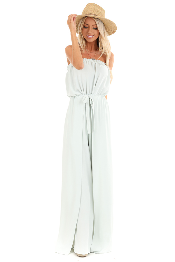 Mint Green Tube Top Jumpsuit with Front Tie and Open Slits front full body