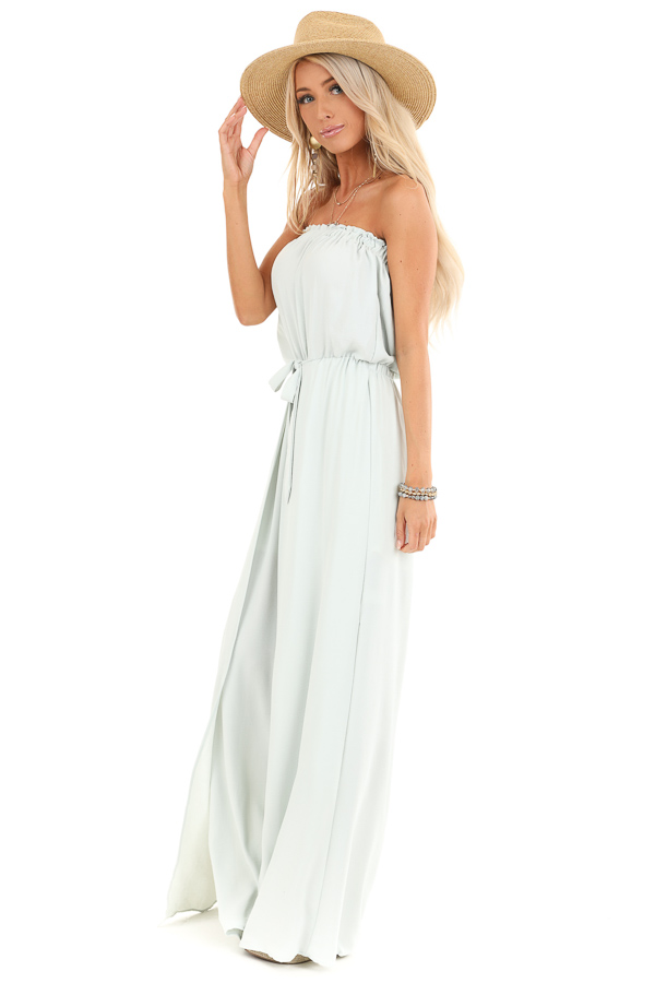 Mint Green Tube Top Jumpsuit with Front Tie and Open Slits side full body