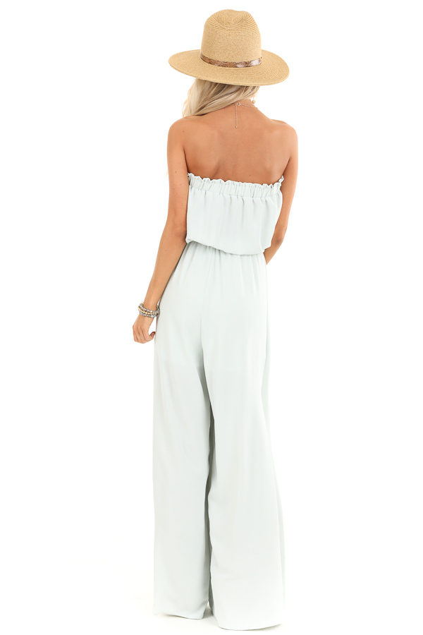 Mint Green Tube Top Jumpsuit with Front Tie and Open Slits back full body