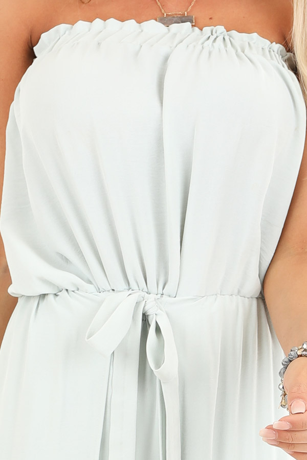 Mint Green Tube Top Jumpsuit with Front Tie and Open Slits detail