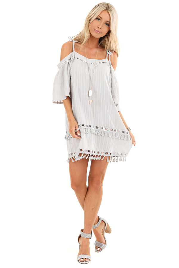 Ash Grey Off the Shoulder Mini Dress with Tassel Details front full body
