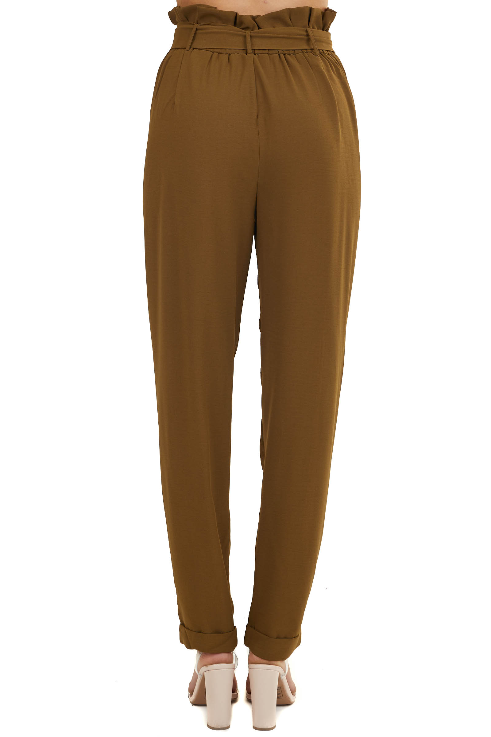Olive Green Loose Fit Pants with Front Tie and Pockets