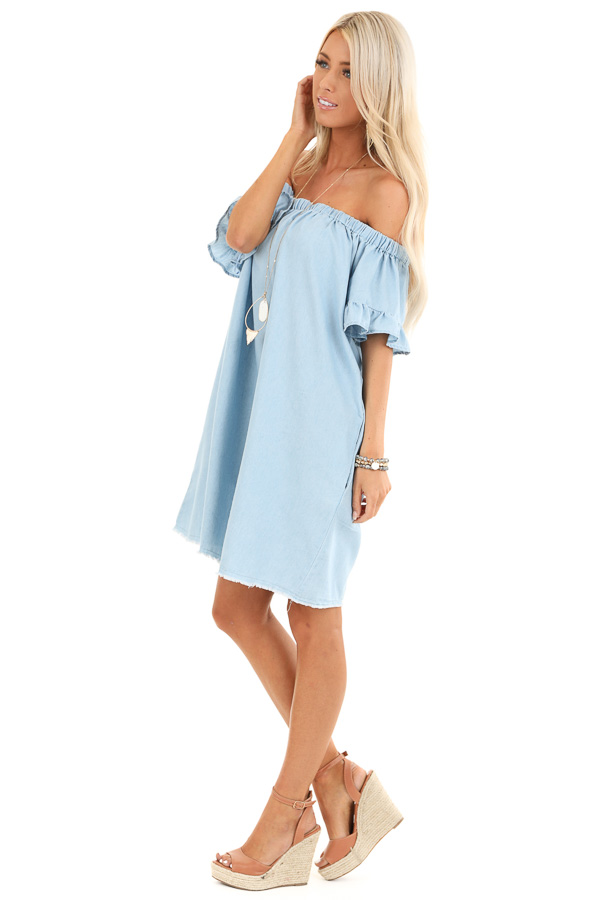 Denim Blue Off Shoulder Mini Dress with Ruffled Sleeves side full body