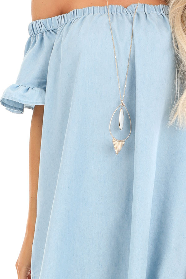 Denim Blue Off Shoulder Mini Dress with Ruffled Sleeves detail
