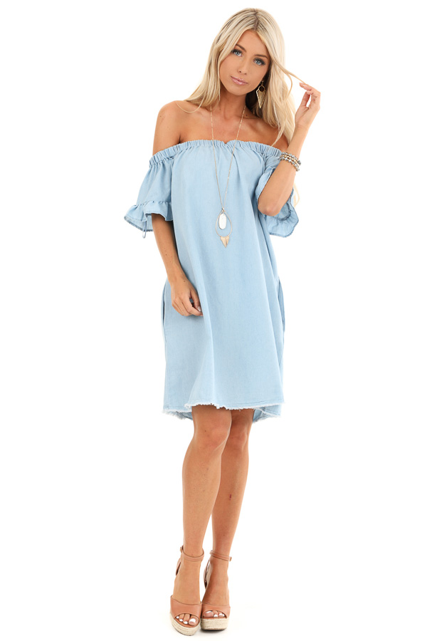Denim Blue Off Shoulder Mini Dress with Ruffled Sleeves front full body