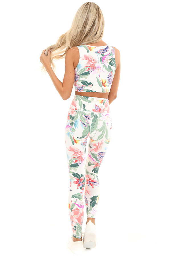 Ivory Floral Print Stretchy Yoga Pants with Hidden Pocket back full body