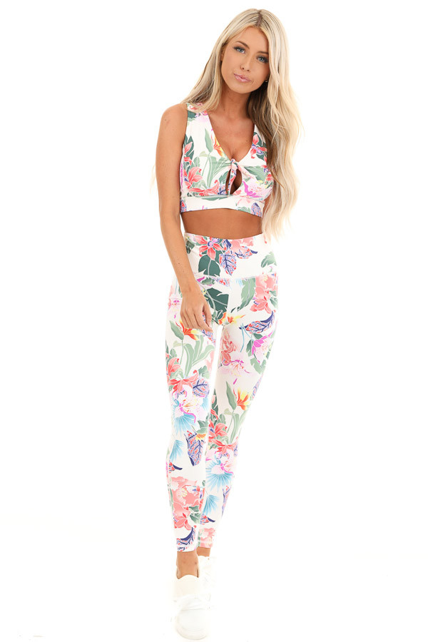 Ivory Floral Print Stretchy Yoga Pants with Hidden Pocket front full body