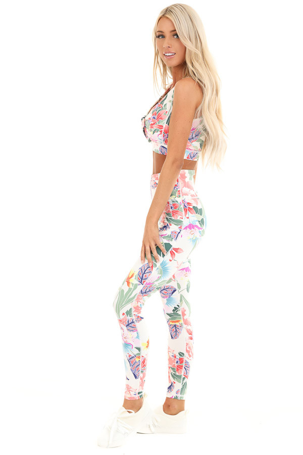 Ivory Floral Print Tie Front Sports Bra side full body