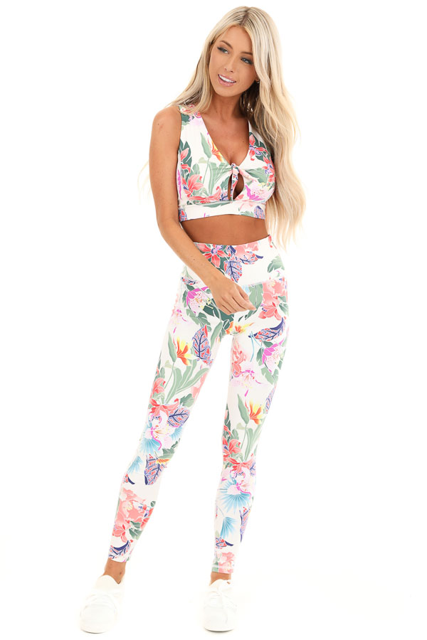 Ivory Floral Print Tie Front Sports Bra front full body