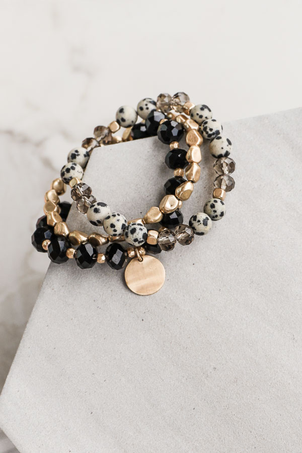 Black and Gold Beaded Bracelet Set with Coin Pendant close up