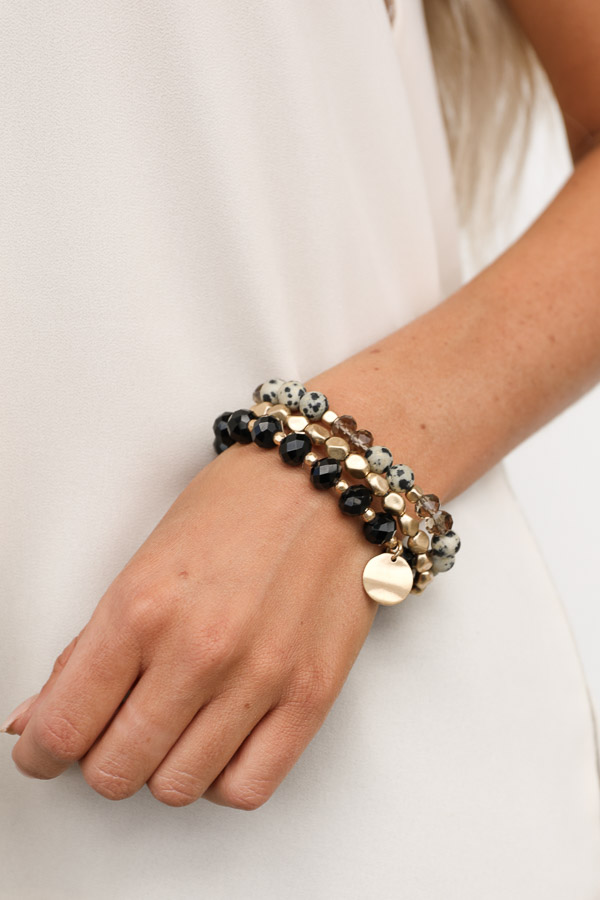 Black and Gold Beaded Bracelet Set with Coin Pendant