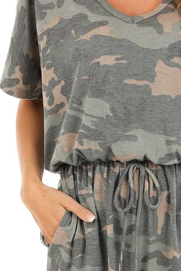 Olive and Taupe Camouflage Print Romper with Waist Tie detail