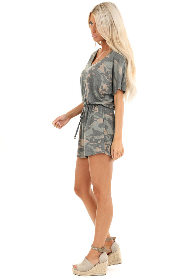 Olive and Taupe Camouflage Print Romper with Waist Tie side full body